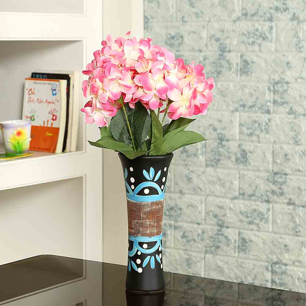 Hand Painted Textured Multicolor Ceramic Vase