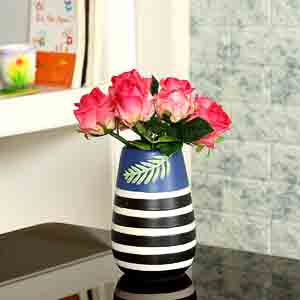 Vases-Striped Multicolor Ceramic Vase for Home and Office