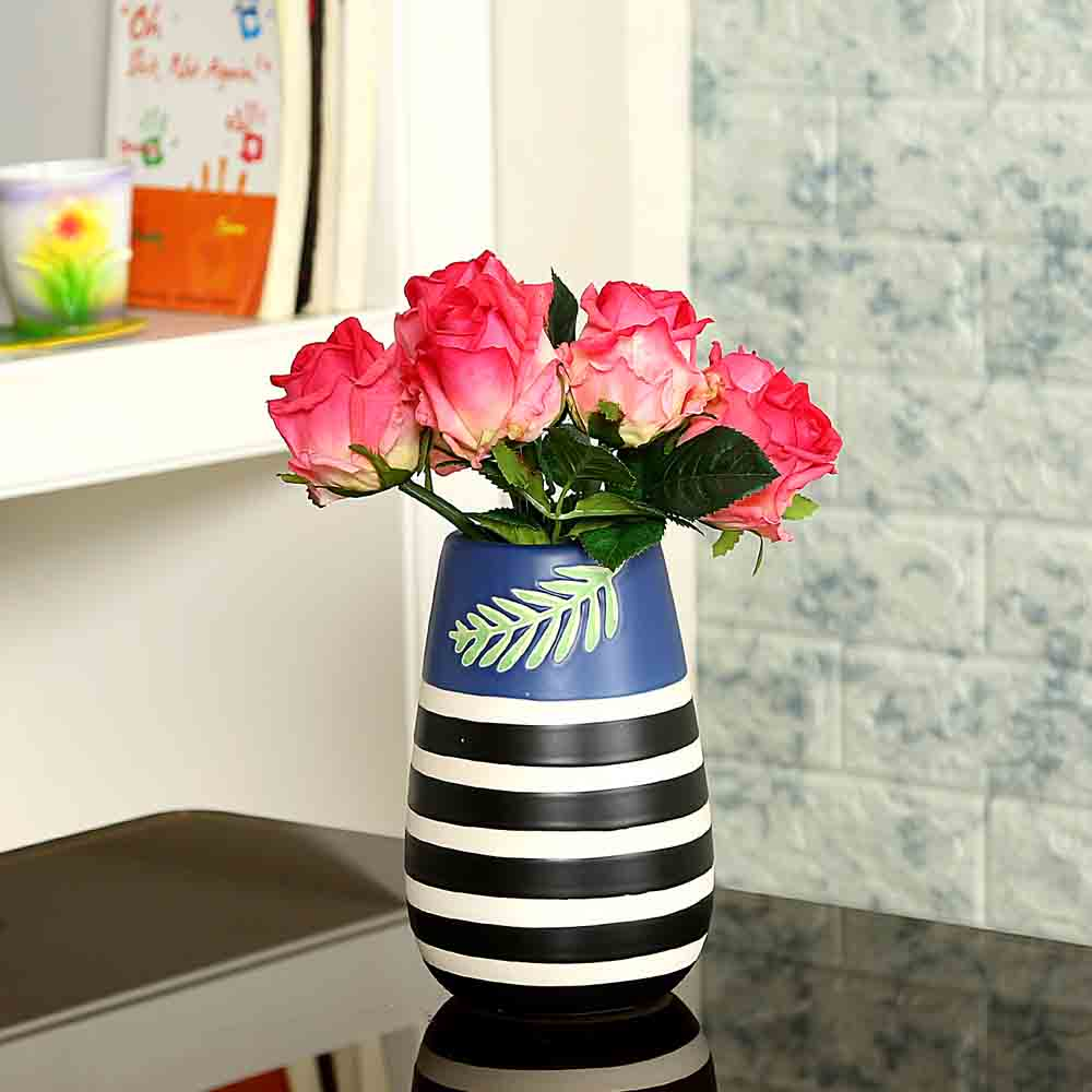 Striped Multicolor Ceramic Vase for Home and Office