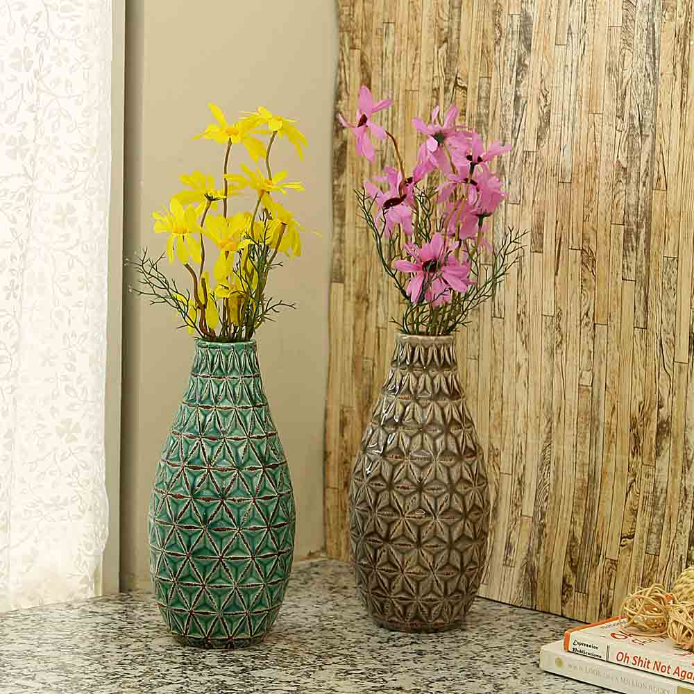 Rusty Finish Brown Ceramic Vase - Set of 2