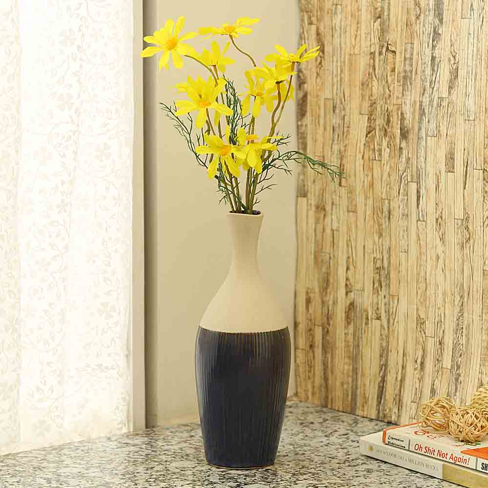 Off White And Deep Blue Stripped Ceramic Vase