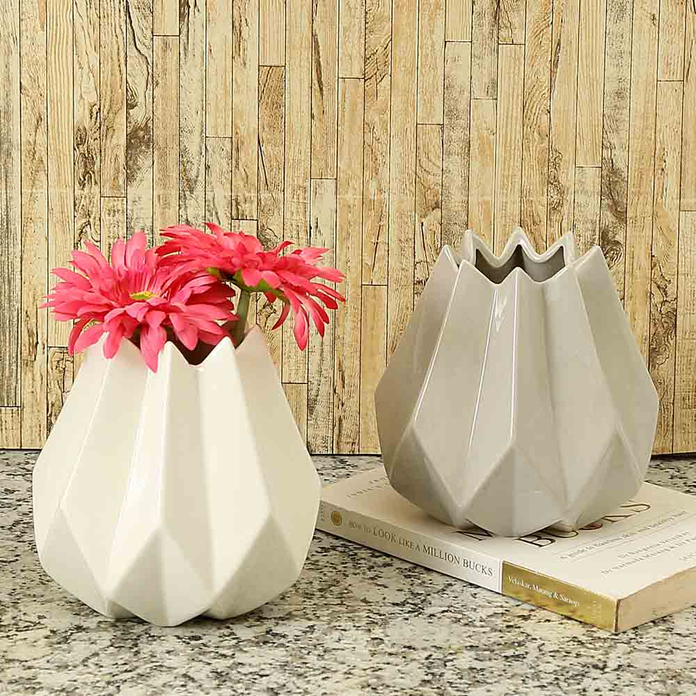 Differently Handcrafted Grey & White Decorative Ceramic Vase - Set of 2