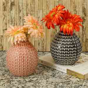 Vases-Handcrafted Charcoal Grey & Peach Glazed Ceramic Vase - Set of 2