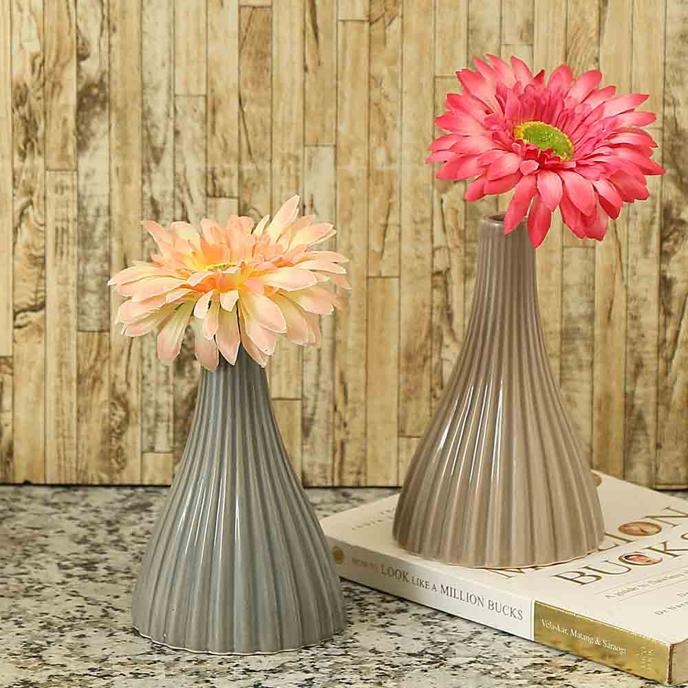 Linear Ribbed Style Brown & Grey Ceramic Vase - Set of 2