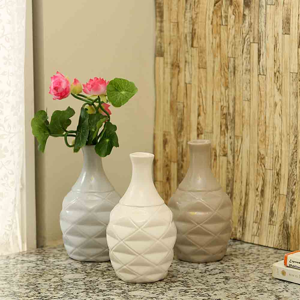 Bottle Shaped Handcrafted Brown & Grey Ceramic Vase - Set of 3