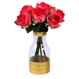 Vases-Transparent with Opaque Golden Base Fusion Glass Vase