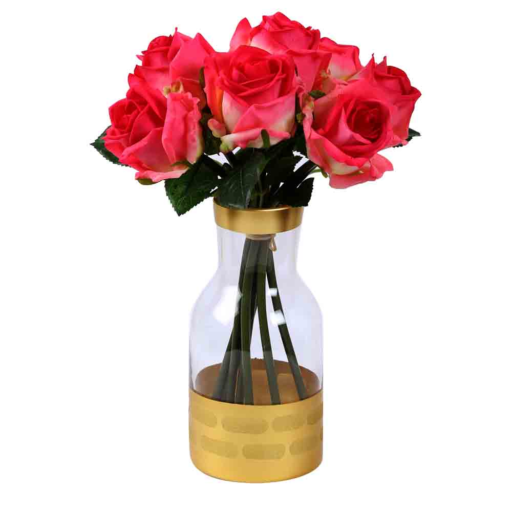 Transparent with Opaque Golden Base Fusion Glass Vase