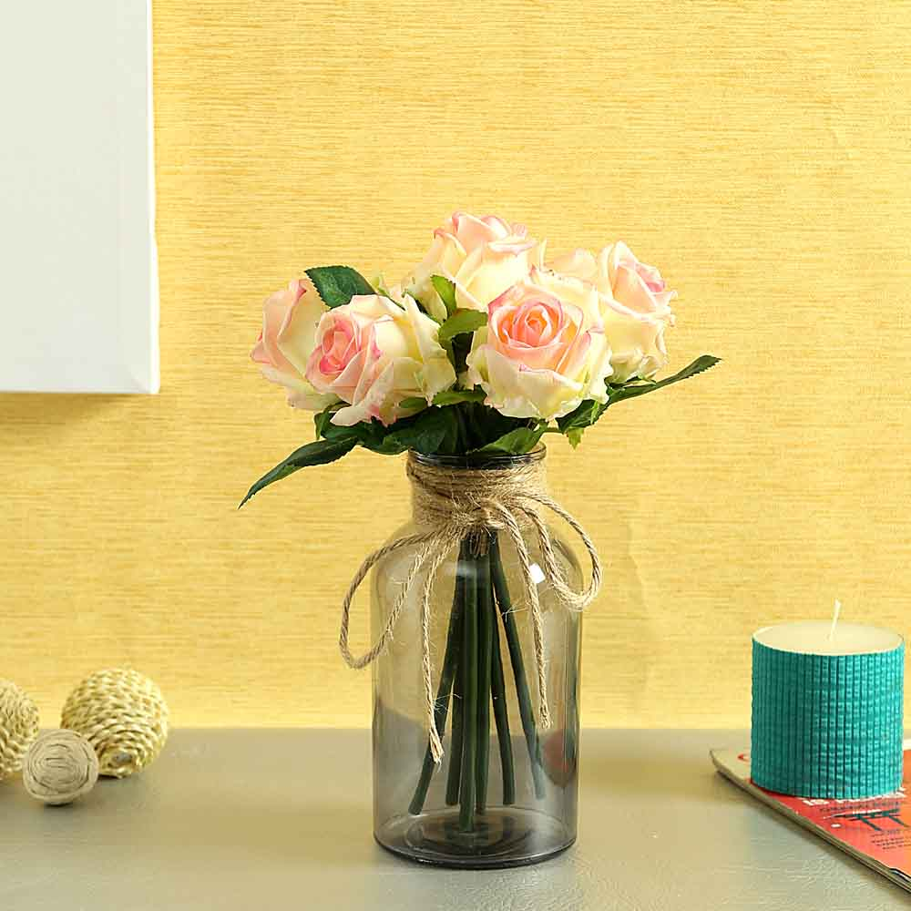 Cream & Pink Plastic Artificial Flowers - Set of 1