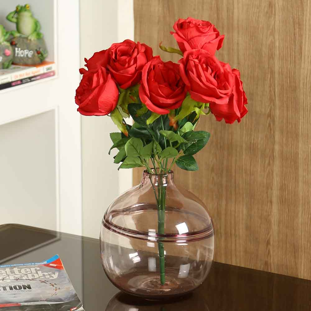 Red Plastic Artificial Flowers - Set of 1