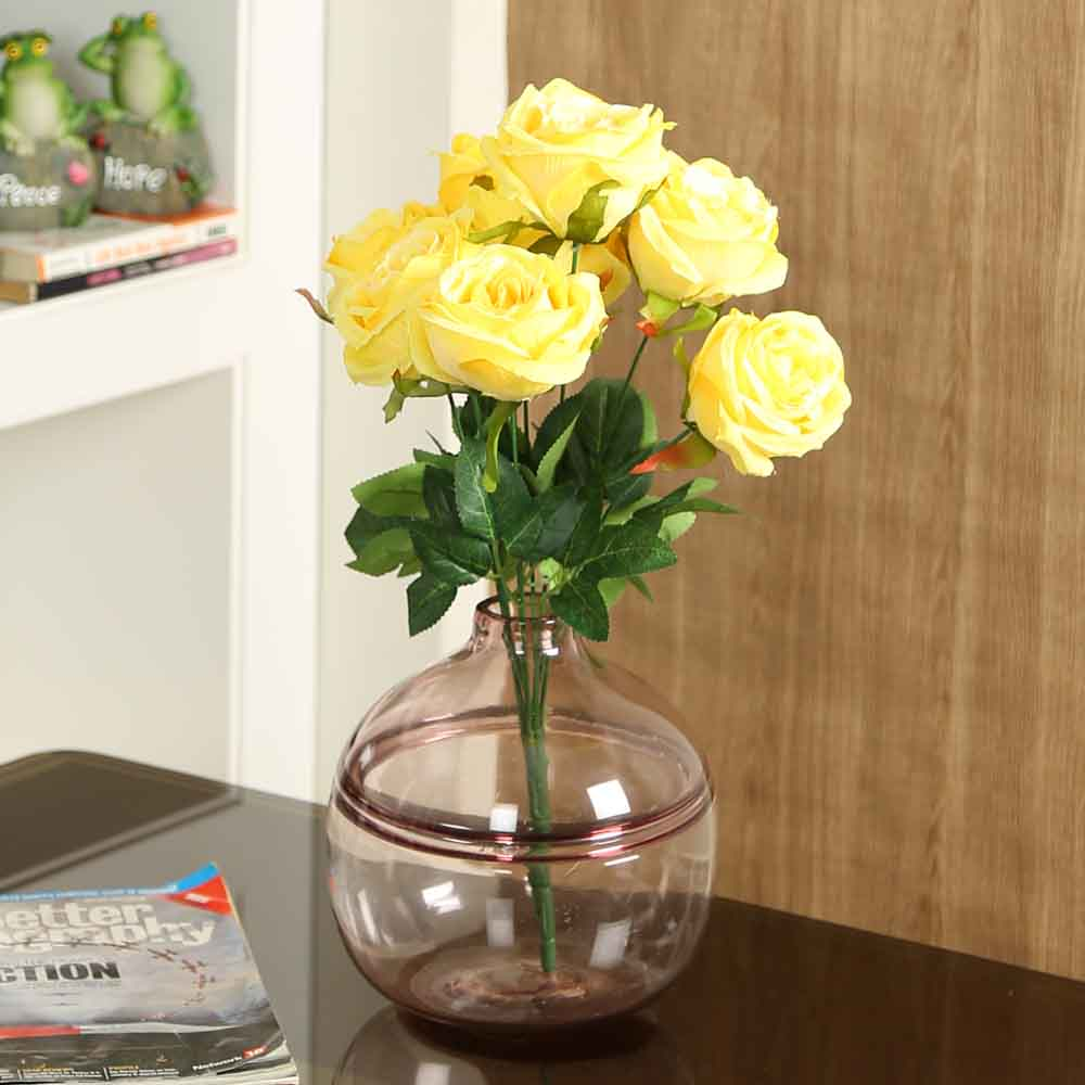 Yellow Plastic Artificial Flowers - Set of 1