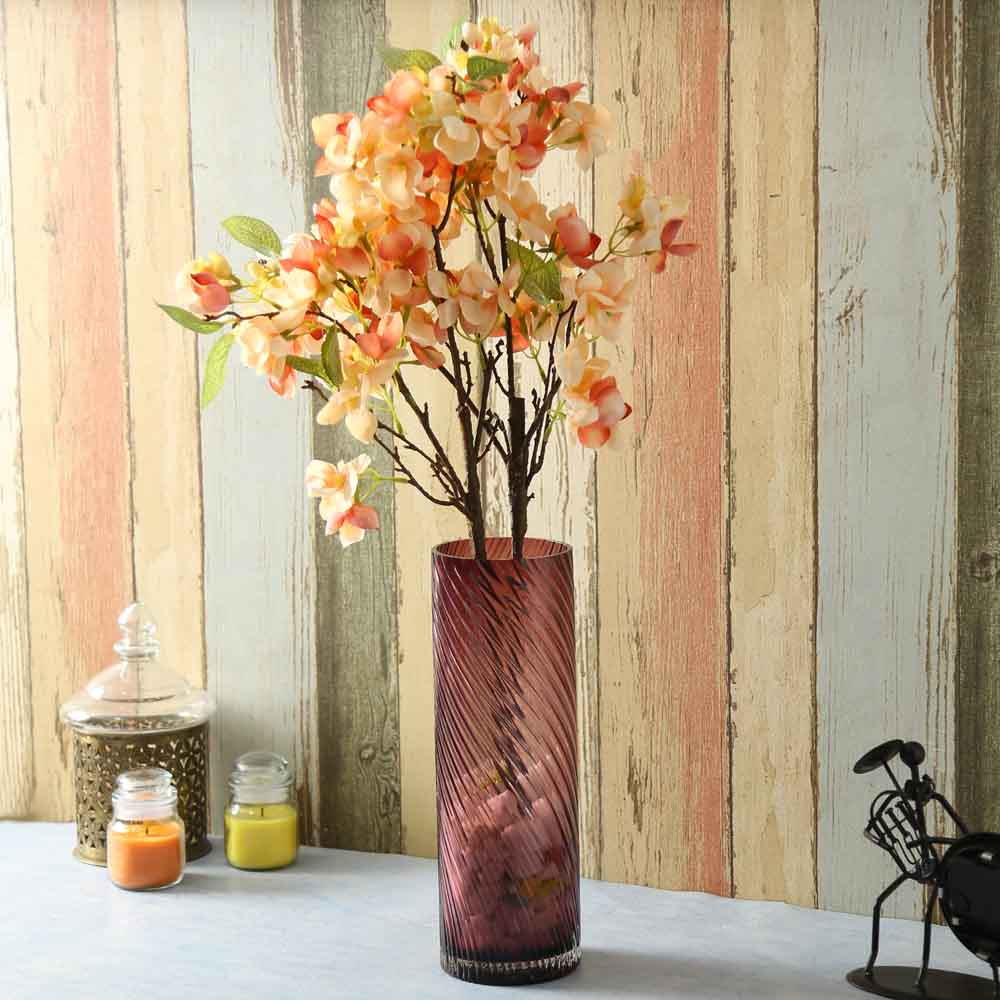 Peach Plastic Artificial Flowers - Set of 2