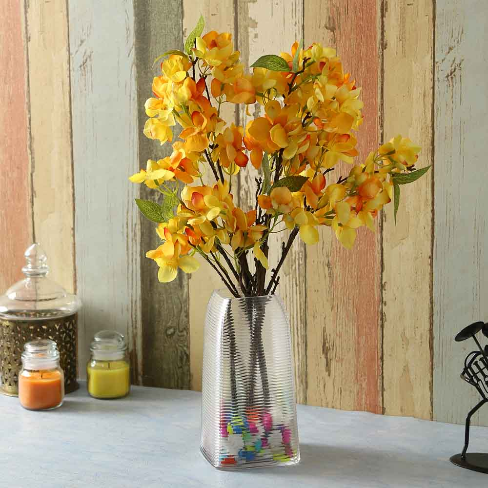 Yellow Plastic Artificial Flowers - Set of 2