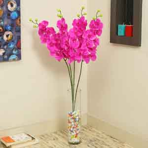 Artificial Flowers-Pink Plastic Artificial Flowers - Set of 2