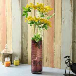 Artificial Flowers-Yellow Plastic Artificial Flowers - Set of 2