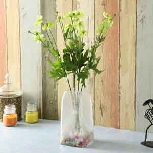 Artificial Flowers-Green Plastic Artificial Flowers - Set of 2