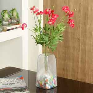 Artificial Flowers-Red & Green Plastic Artificial Flowers - Set of 2