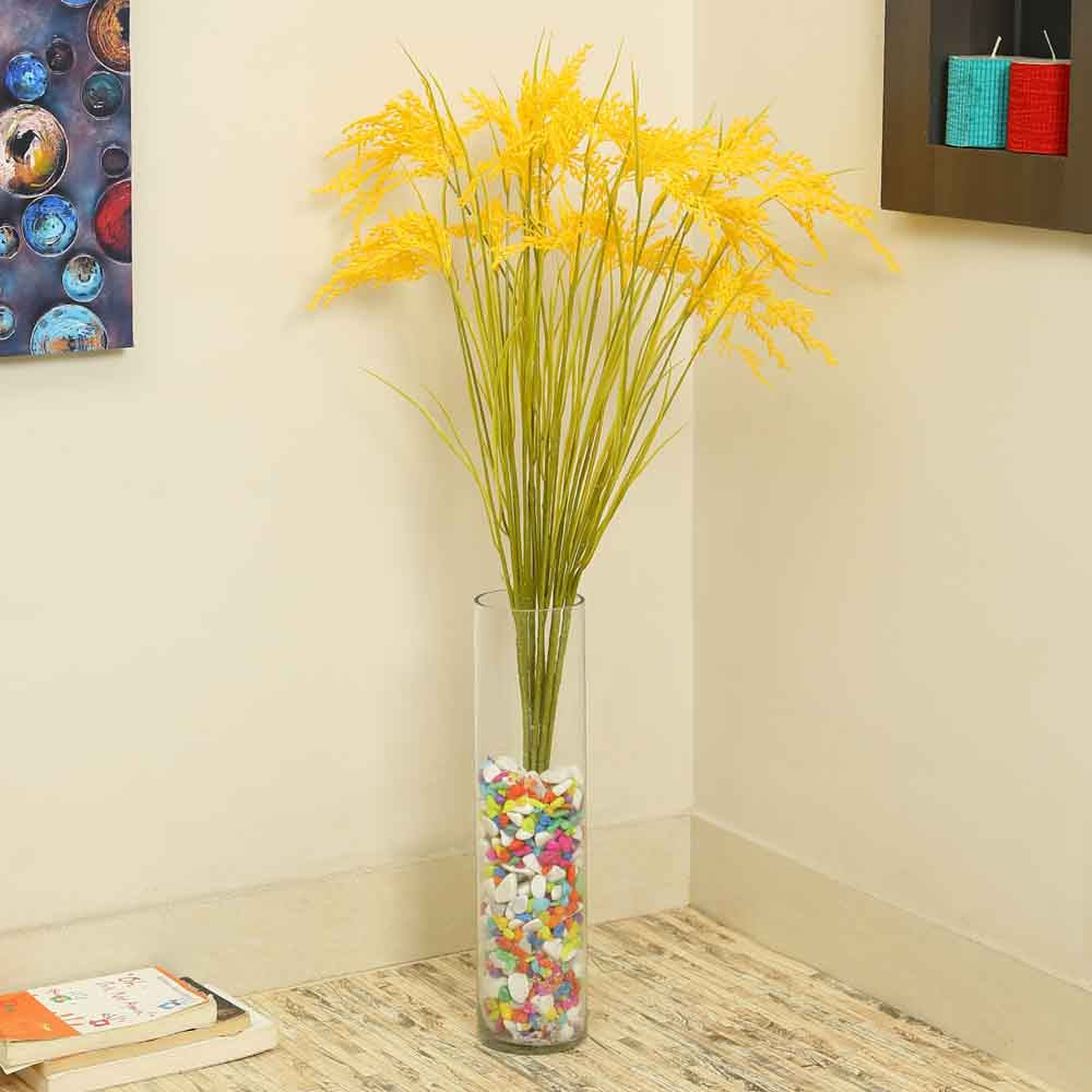 Yellow Plastic Artificial Flowers - Set of 4