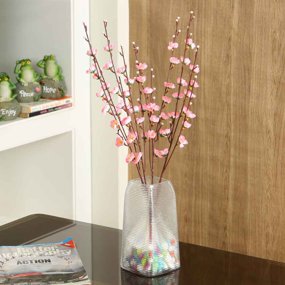 Pink Plastic Artificial Flowers - Set of 4