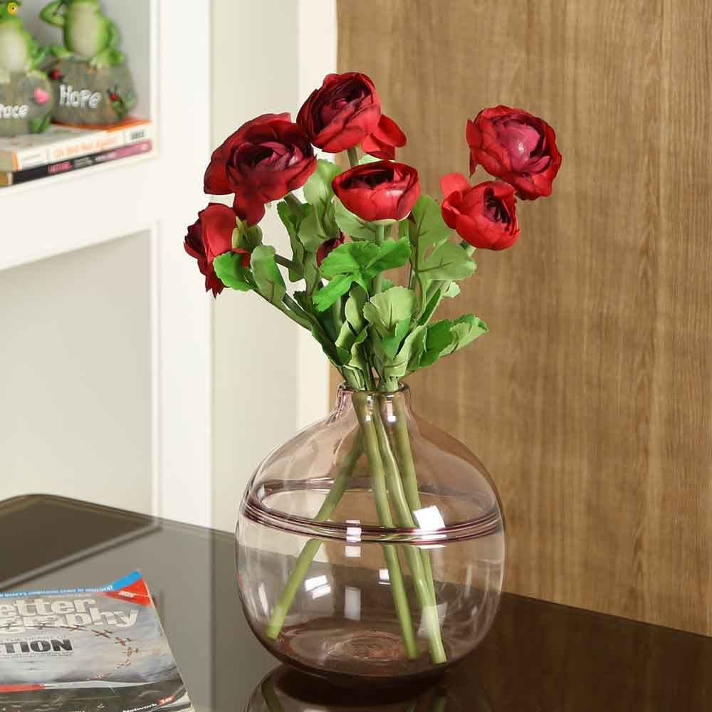 Red Plastic Artificial Flowers - Set of 4