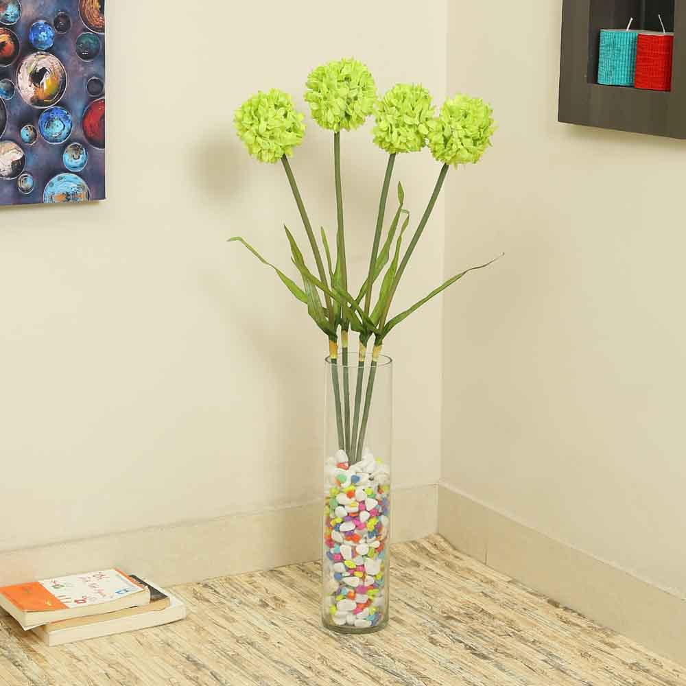 Green Plastic Artificial Flowers - Set of 4