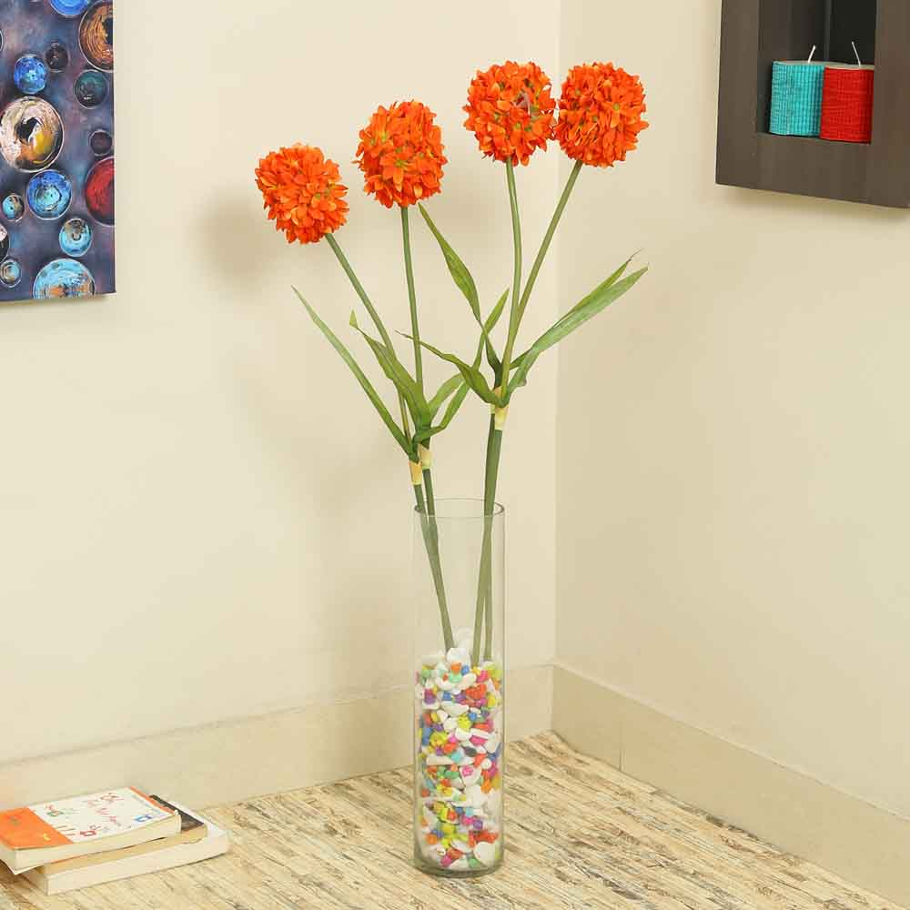 Orange Plastic Artificial Flowers - Set of 4