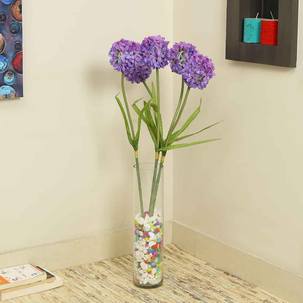 Purple Plastic Artificial Flowers - Set of 4