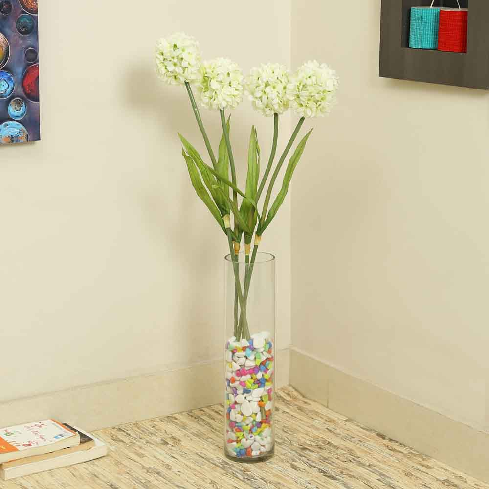 White Plastic Artificial Flowers - Set of 4