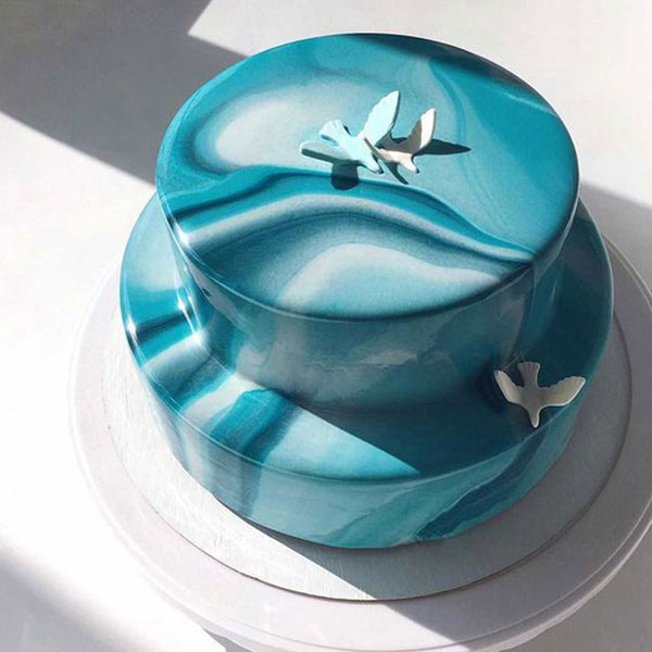 Blue Marble 2 Tier Cake