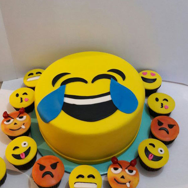 Delhi Special-Emoji's Party 2 Kg Cake and 12 Cupcakes
