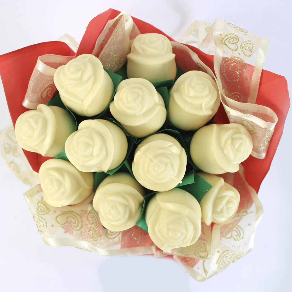 All Over India-White chocolate roses