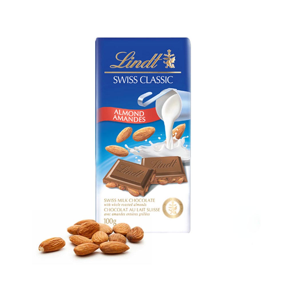 Chocolates & Flowers-Lindt Swiss Classic Almond bar with Rakhi