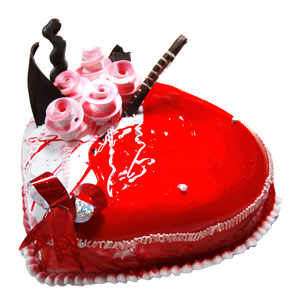 Indore Special-Red Heart Decorated 1 Kg Cake