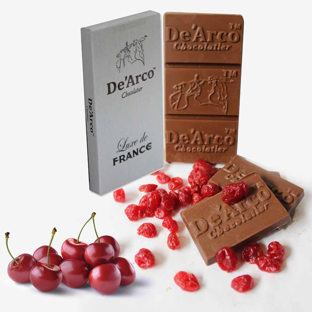 Chocolates & Cookies-De'Arco Chocolatier 30% Cocoa Vivid Cherries 80 g