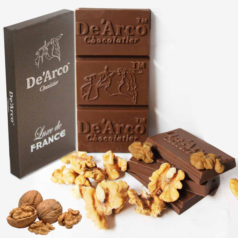 Chocolates & Cookies-De'Arco Chocolatier 30% Cocoa Walnut Fiesta 80 g