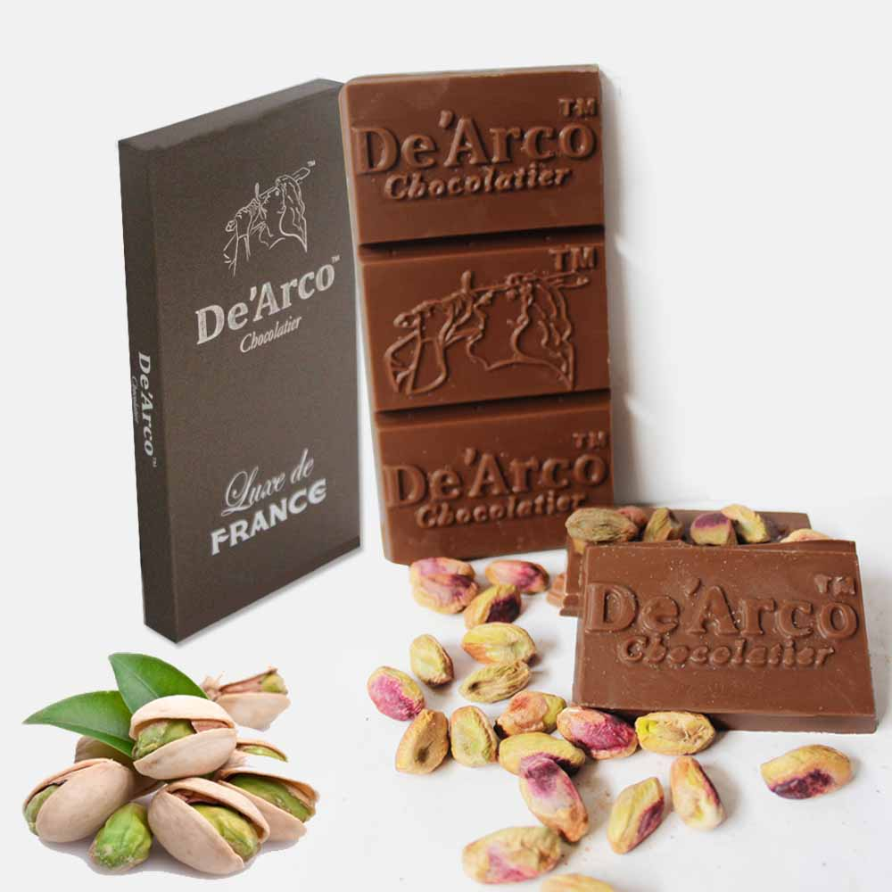 Chocolates & Cookies-De'Arco Chocolatier 50% Cocoa Pistachios Treat 80 g