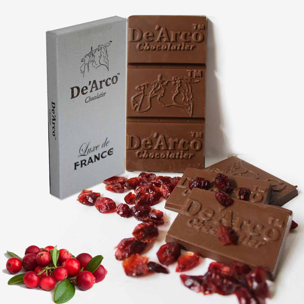 Chocolates & Cookies-De'Arco Chocolatier 60% Cocoa Cranberries Feast 80 g
