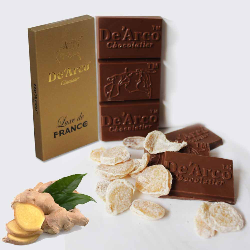 Chocolates & Cookies-De'Arco Chocolatier 60% Cocoa Tarty Ginger 80 g