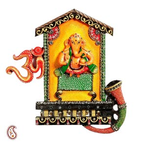 Home Furnishings-Lord Ganesha and Om Wall Hanging in Wood and Clay