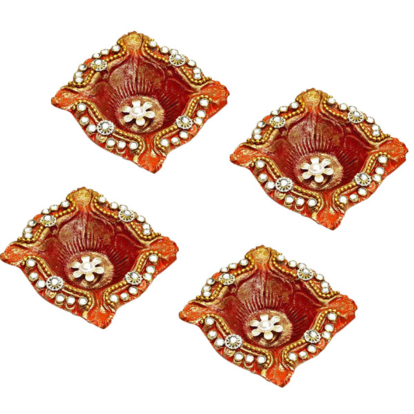 Diwali Diyas-Square Diyas with Kundans, White Stones and Flowers - Set of 4