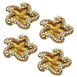 Diwali Candles-Floral Gold Candle Diyas with Decorated Accents - Set of 4