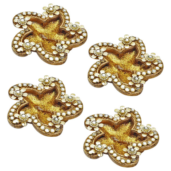 Floral Gold Candle Diyas with Decorated Accents - Set of 4