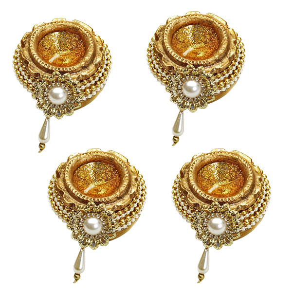 Diwali Candles-Gold Pot Candles with Pearl and Gold Bead Strings - Set of 4