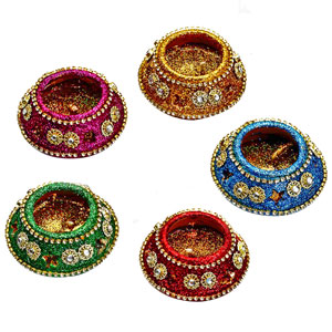 Diwali Candles-Colorful Pot Candles with Stones and Beads - Set of 6