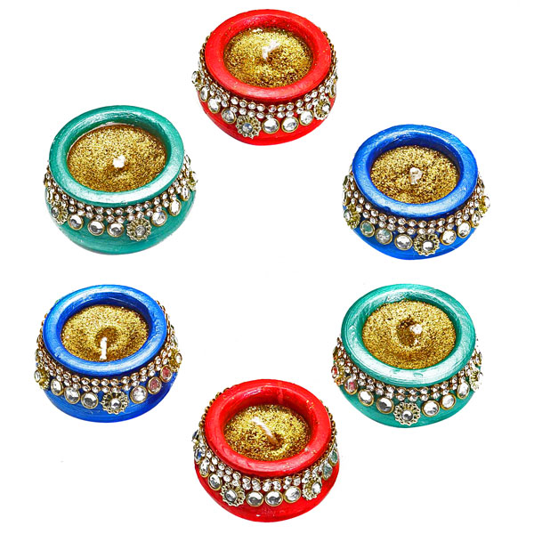 Diwali Candles-Metallic Painted Pot Candles with Stones and Glitter - Set of 6