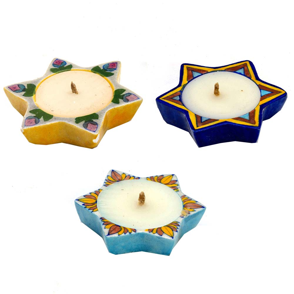 Diwali Mithai Thalis & Hampers-Multicolor Star Shape Wax Filled Candle Diyas- Set of 3