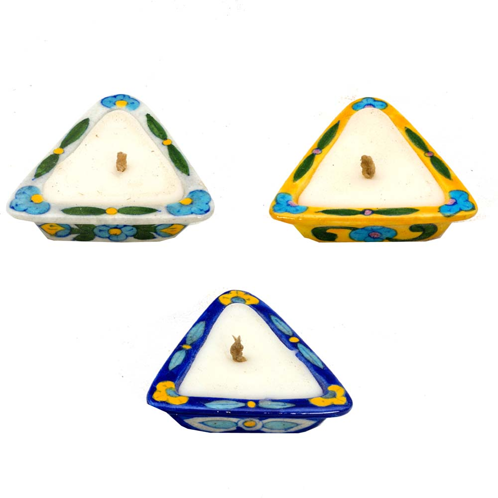 Diwali Mithai Thalis & Hampers-Stunning Triangular Shape Candle Diyas- Set of 3