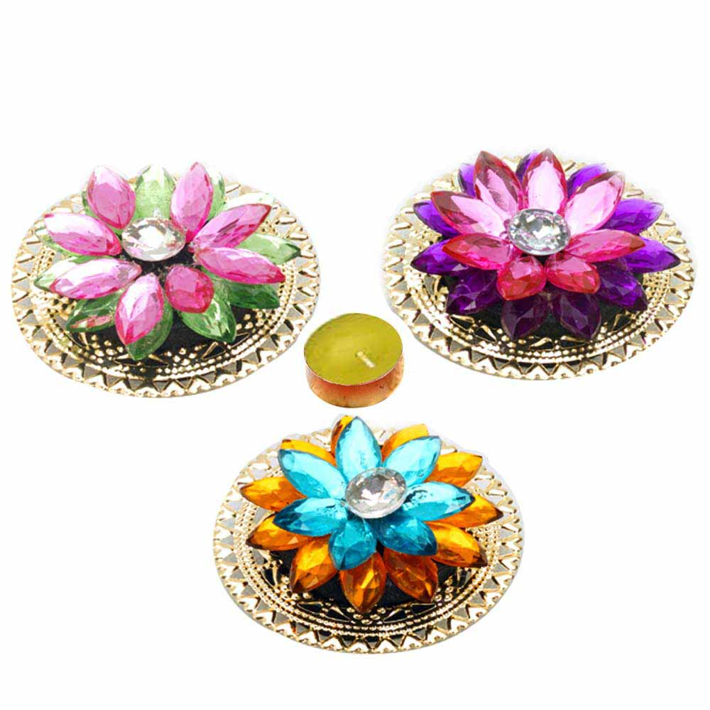 Diwali Mithai Thalis & Hampers-Colorful Floral Floating Showpieces with Candle