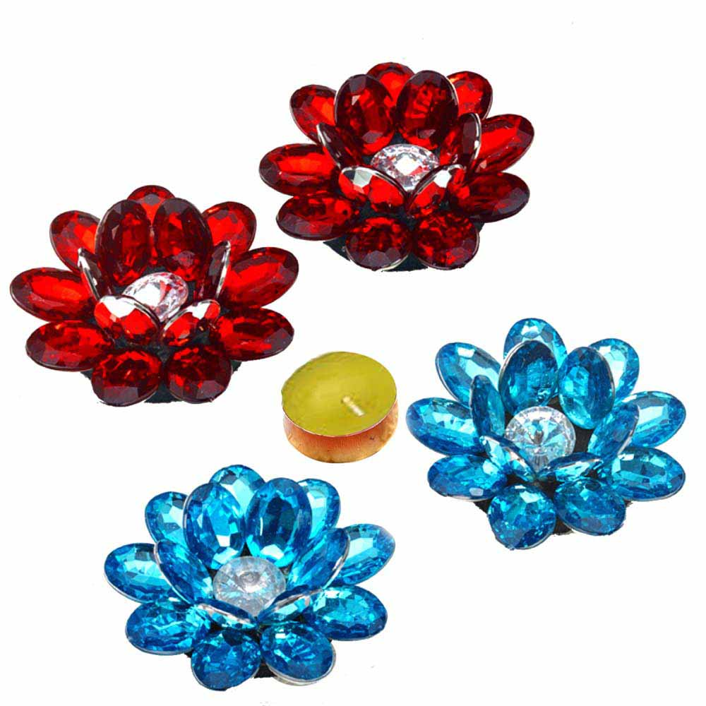 Diwali Mithai Thalis & Hampers-Lotus Shape Floating Showpieces and Candle