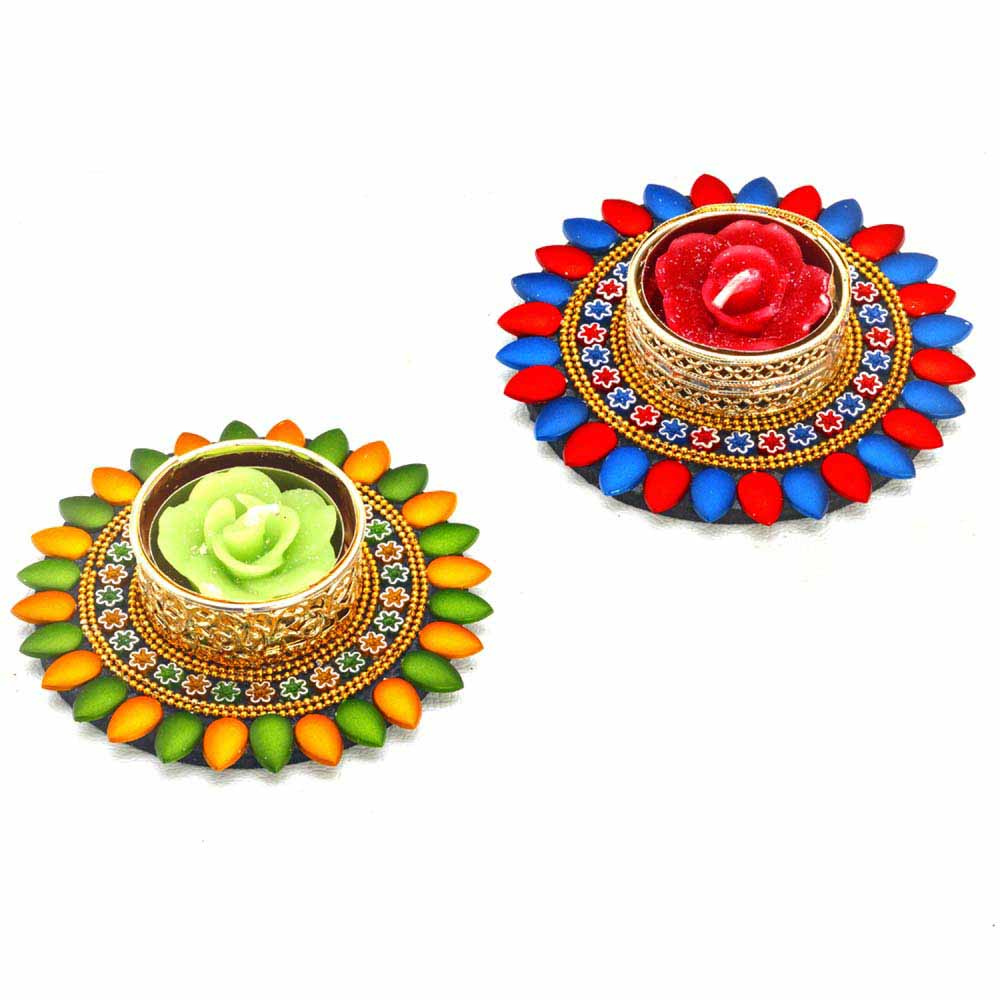 Diwali Mithai Thalis & Hampers-Multicolor Glossy Floating Candles