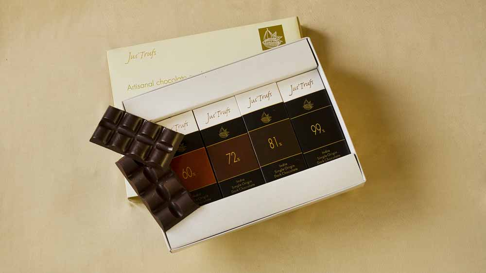 Four Artisanal Dark Chocolate Bars